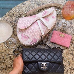 RARE 🌸 vintage Dior saddle bag pink flowers